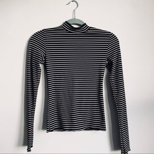 PrettyLittleThing | Striped Black Turtleneck Top